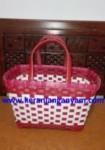 Tas Anyaman Model Kotak Warna Merah Putih