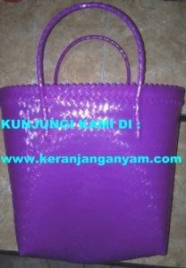 Tas Keranjang Anyaman Warna Purple