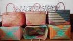 Tas Anyaman Cantik Kotak Lurik Warna Warni