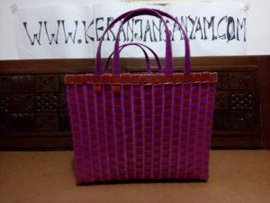 Tas Cantik Warna Pink Model Keranjang Kotak Kombinasi Bening